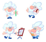 Mad professor. A cartoon mad scientist character with moustache and grey curly hair Stock Photos