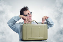 Mad Professor with army box and smoke.  royalty free stock photography