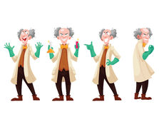 Mad professor in lab coat and green rubber gloves. Cartoon style vector illustration  on white background. Funny laughing white-haired scientist in four Royalty Free Stock Image