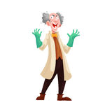 Mad professor in lab coat and green rubber gloves. Mad professor with grey bushy hair in lab coat and green rubber gloves, cartoon vector illustration isolated Stock Photos