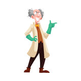 Mad professor in lab coat and green rubber gloves. Mad professor with grey bushy hair in lab coat and green rubber gloves, cartoon vector illustration isolated Stock Photography