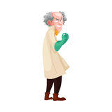 Mad professor in lab coat and green rubber gloves. Mad professor with grey bushy hair in lab coat and green rubber gloves, cartoon vector illustration  on white Royalty Free Stock Photos