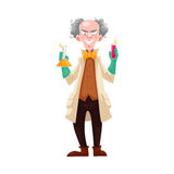 Mad professor in lab coat and green rubber gloves. Holding flasks, cartoon vector illustration isolated on white background. Crazy laughing white-haired Stock Image