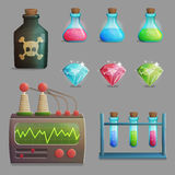 Mad professor laboratory items for game design Royalty Free Stock Photography