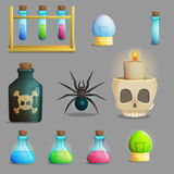 Mad professor laboratory items for game design. A collection of items for mad evil professor human experiment laboratory design. Test tubes, poison bottle, lab Stock Photo