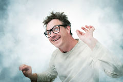 Mad Professor in smoke, art concept of science Royalty Free Stock Photo