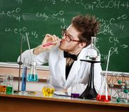 Mad professor sniffs the liquid Royalty Free Stock Photography