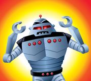 Mad Robot with Its Arms Up Royalty Free Stock Photos