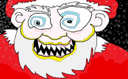 Mad Santa. Caricature illustration of mad Santa Claus Stock Photography