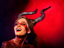 Mad satan woman aggressive cry in hell . Witch reincarnation creature. royalty free stock images