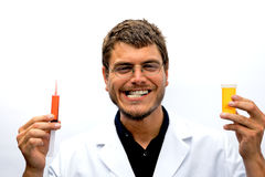 Mad Scientist. A mad scientist with a crazy look on his face Stock Photo