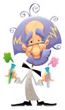 Mad scientist. Funny and cartoon character stock illustration