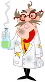 Mad scientist. Cartoon scientist after a failed experiment stock illustration