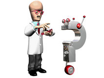 Mad Scientist. On a black background with a strong uplight stock illustration