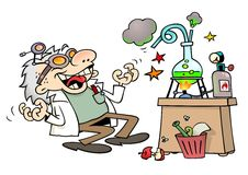 Mad scientist. Laughing insanely by his laboratory desk stock illustration