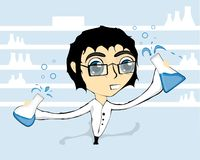 Mad Scientist. Illustration of a semi mad scientist. holding two bottles that are spilling Stock Photos