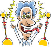 Mad Scientist. A mad scientist is excited with electricity stock illustration