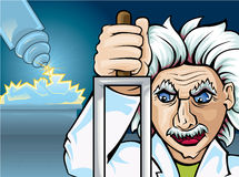 Mad scientist. Vector illustration of one mad scientist make some experiments on human Stock Images