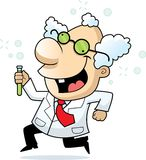 Mad Scientist. A cartoon mad scientist smiling and running royalty free illustration