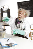 Mad scientist conducts chemistry experiment. Enthusiastic mad senior scientist in lab measures green liquid in beaker. Frizzy grey hair, round glasses, lab coat Royalty Free Stock Photography