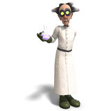 Mad scientist with dangerous fluid. 3D rendering of a mad scientist with dangerous fluid with clipping path and shadow over white Royalty Free Stock Photo