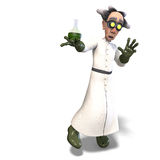 Mad scientist with dangerous fluid. 3D rendering of a mad scientist with dangerous fluid with clipping path and shadow over white Royalty Free Stock Photography