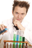 Mad scientist hold blue test tube Stock Image