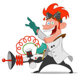 Mad scientist. With laser. Vector illustration Royalty Free Stock Image
