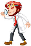Mad scientist with magnifying glass Royalty Free Stock Photos