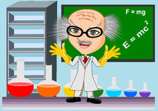Mad scientist. Pointing concept vector Royalty Free Stock Photo