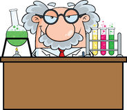 Mad Scientist Or Professor In The Laboratory Royalty Free Stock Images