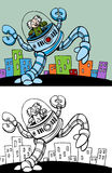 Mad Scientist in Robot. Cartoon image of a mad scientist riding in a giant robot - both color and black / white versions Stock Images