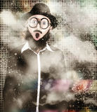 Mad scientist with solution to chemical reaction Royalty Free Stock Photo