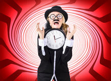 Mad scientist in space time warp Royalty Free Stock Photo