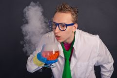 Mad scientists make experiments 1523. Royalty Free Stock Photos