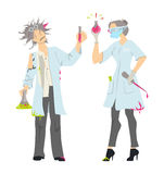 mad scientists. Mad scientists on white background. Female and male professors in whites with laboratory equipment Stock Photos