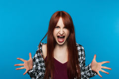 Mad screaming woman. Rage emotion Royalty Free Stock Image