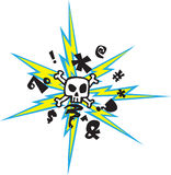 Mad Skull. A crazy skull with lightening bolts thing Stock Photo