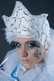 Mad Snow princess. There is women under makeup of snow princess. She is mad stock images