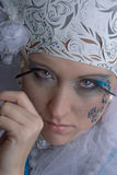 Mad Snow princess from fair tail. There is women under makeup of snow princess. She is mad stock image