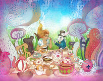 Mad Tea Party. Alice`s Adventures in Wonderland illustration. Girl, white rabbit drink from cups under giant mushrooms. Design for Wonderland style party Stock Photography