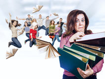 Mad teacher with happy students stock image