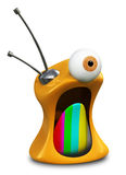 MAD TV. A fuuny 3D character of a crazy retro TV placed ona white background Stock Photo