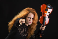 Mad violinist Royalty Free Stock Photography