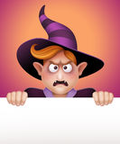 Mad wizard boy holding blank message card, Halloween banner illustration Stock Photos