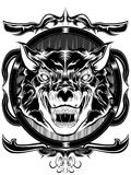Mad wolf. This  file consists of black and white for print cost saving Royalty Free Stock Image
