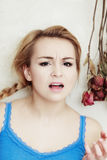 Mad woman angry teenage girl screaming. Adolescence. Royalty Free Stock Photos