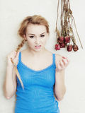 Mad woman angry teenage girl screaming. Adolescence. Stock Images