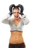 Mad woman in boxing gloves Stock Photography