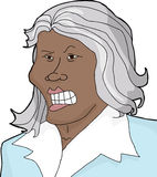 Mad Woman with Gray Hair. Insulted Asian businesswoman with gray hair on white background Royalty Free Stock Image